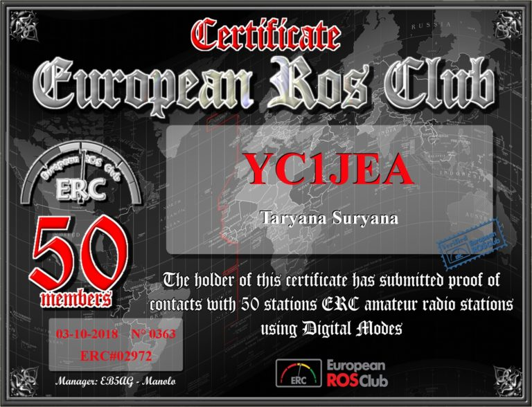 Certificate European Ros Club