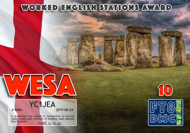 Worked English Stations Award