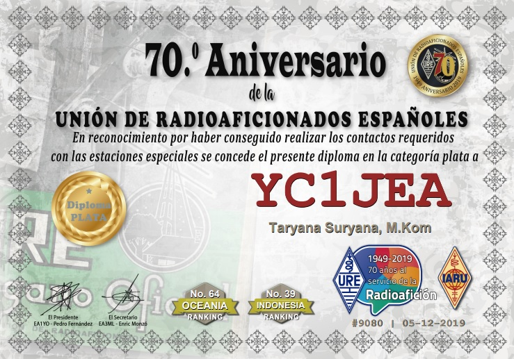 "DIPLOMA AND SPECIAL TROPHY – ""70 ANNIVERSARY OF THE SPANISH RADIO AMATEUR LEAGUE"""