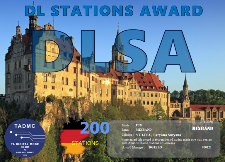 DL Station Award (Two way Contact with Amateur Radio Stations of Germany)