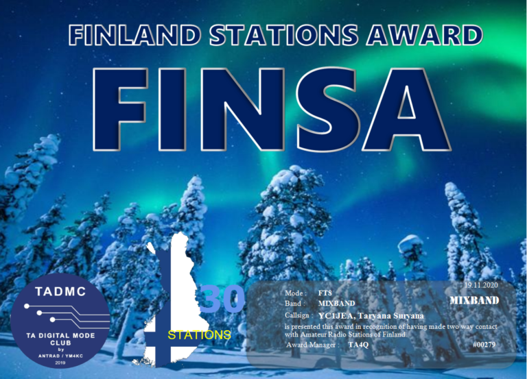 FINLAND STATION AWARD (Two way Contact with Amateur Radio Stations of Finland)