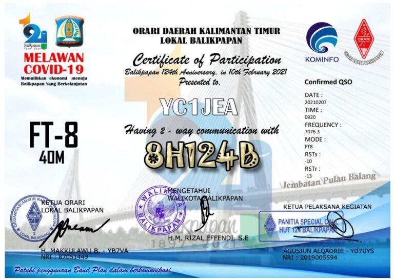 8H124B Special Call HUT Kota Balikpapan ke 124