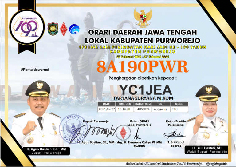 Special Call 8A190PWR HUT Kab. Purworejo